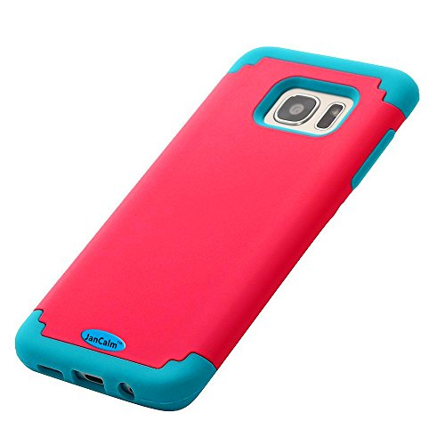 Galaxy S7 Edge Case,S7 Edge Case,JanCalm 2in1 Hybrid Case Cover for Samsung S7 Edge .Dual Layer Hard Soft Rubber Slim Hybrid [Corner Protection] Combo 2-Piece Hard Bumper Soft Cover (Pink/blue)