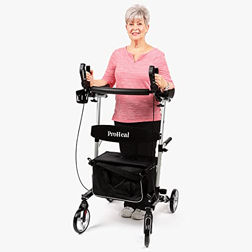 """ProHeal Stand Up Walker with Seat - Tall Stand Up Rollator with Adjustable Height Handles - 19"""" Seat, Lightweight Easy Fold Aluminum Frame - Bonus Cup Holder, Storage Bag, and LED Light - Silver"""
