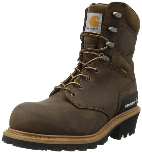 """Carhartt Men's 8"""" Waterproof Composite Toe Logger Boot CML8369, Crazy Horse Brown Oil Tanned Leather, 12 W US"""
