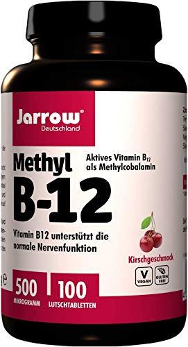 Methyl B12 500 µg, aktives Vitamin B12 als Methylcobalamin, Lutschtabletten mit Kirschgeschmack, vegan, hochdosiert, Etikett in Deutsch, Englisch und Französisch, Jarrow, 1er Pack (1 x 100 Stück)
