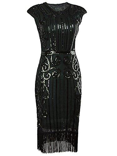Vijiv 1920s Vintage Inspired Sequin Embellished Fringe Long Gatsby Flapper Dress,Dark Green,XX-Large