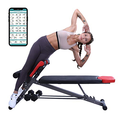 Finer Form UPGRADED Multi-Functional Bench for Full All-in-One Body Workout – Hyper Back Extension, Roman Chair, Adjustable Ab Sit up Bench, Decline...