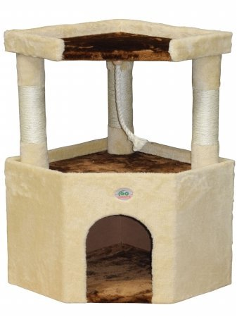 Go Pet Club Tall Beige & Brown Cat House, 32 by Go Pet Club