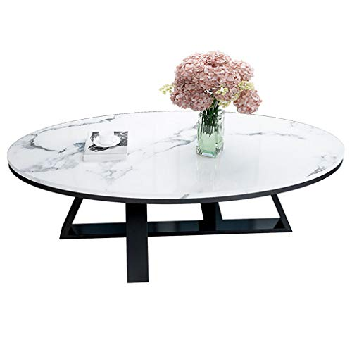 ZRXian-Kaffeetische Wohnzimmertische Oval Marmor Couchtisch Moderne Einfache Wohnzimmer Teetisch Moderne Edelstahl Mode Haushalt Kleine Wohnung Beistelltisch Wohnkultur