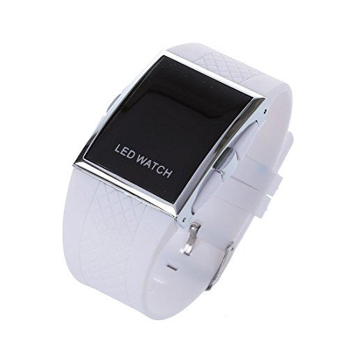 SODIAL(R) LED Reloj Moda Hombre Mujer Relo de Pulsera Correa Deportivo Digital para Senora Vestido Reloje de Pulsera Reloj-Todo Negro
