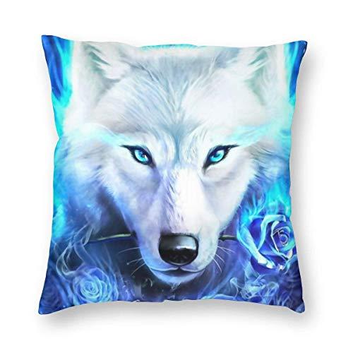 N/Q Federa per Cuscino Blue Fire Wolf con Rose Cuscino Quadrato Fodera per Cuscino Federa Standard per Uomo Donna Decorativa per la casa Divano Poltrona Camera da Letto Soggiorno 45x45CM
