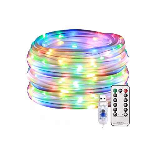 RH Trading LED Fairy Rope String Lights - USB Powered 10 Meter 100 LED String Sensory Lights with Remote Control & Timer | 8 Mode Dimmable Indoor Lights for Party & Fun Sensory Room Decoration