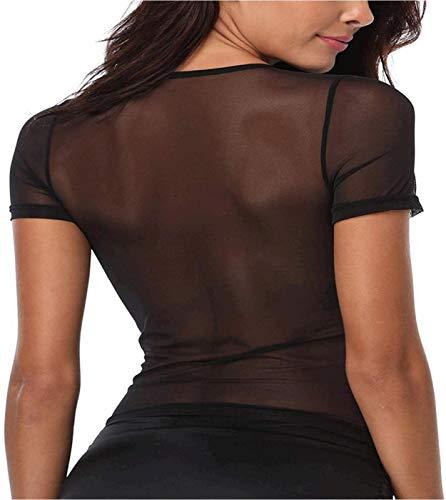 JnZeBly Womens Sheer See-Through Gauze Crop Tops Black M