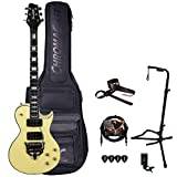 GoDpsMusic 6 String Sawtooth Heritage 24 Fret Guitar with Floyd Rose FRX System, Gig Bag & Accessories, Right, Antique White with Accessories (ST-H70-FRX24-ATQWH-KIT)