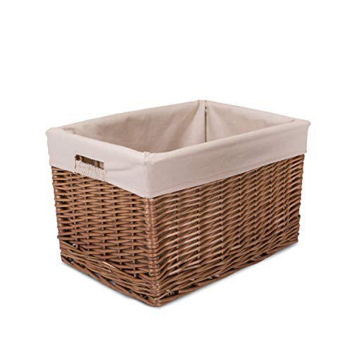Greenleaves Natural Finish Nursery Baby Room Wicker Storage Basket New Born Gift Hamper (Medium)