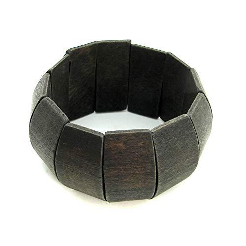 tumundo 1 Armband Holzarmband Modeschmuck Damenschmuck Kugeln Braun Schwarz Holz Natur Breit Acceccoires Dehnbar Armreif Vintage, Variante:Modell 2