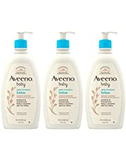 Aveeno Baby Daily Moisture Lotion for Delicate Skin with Natural Colloidal Oatmeal & Dimethicone, Hypoallergenic, Fragrance-, Phthalate- & Paraben-Free, 3 x 18 fl. oz (Amazon Exclusive)