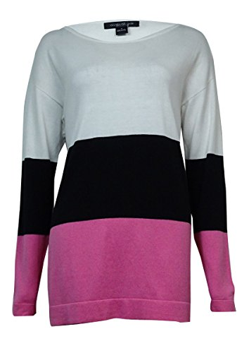 August Silk Womens Color Block Crew Neck Tunic Top Pink L