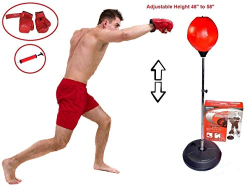 Athletic Bar Punching Bag Reflex Boxing Bag with Stand, Boxing Gloves, Height Adjustable Freestanding Punching Ball Speed Bag Heavy Bag - Boxing Training Stress Relief & Fitness
