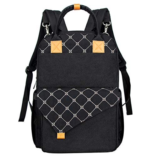 HapTim babyluierrugzak, wikkeltas met aankleedonderlegger, twee lagen, multifunctionele grote capaciteit, babytas, reistas voor onderweg, zwart