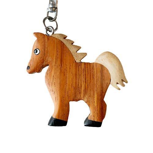 JA Horse - Holz Schlüsselanhänger Pferd Pferdchen Pony Reiten Tier handgemacht (braun Pferd)