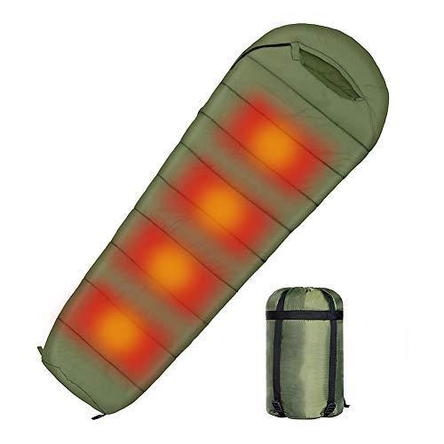 Erwachsene USB Beheizter Mumienschlafsack Wasserdicht Elektrisch Heizung Schlafsack für warmes kaltes Wetter 3 Jahreszeiten Camping Reisen Wandern Outdoor-Aktivitäten (Grün)