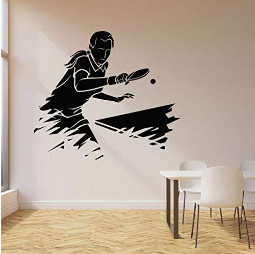 Juego de ping pong calcomanía de pared deportes tenis de mesa atleta juego vinilo ventana pegatinas estadio adolescentes dormitorio decoración del hogar arte mural 42x47 cm