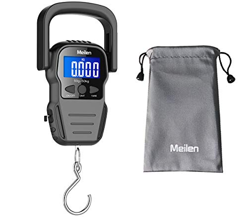Digital Fish Scale, Luggage Scale, Weight Hanging Hook Scale,110lb/50KG-Backlit LCD Display,Batteries Included.Waterproof bag