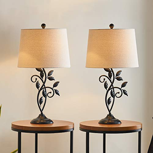 Maxax Traditional Table Lamp with Linen Fabric Shade Set of 2 for Living Room and Bedroom, Black