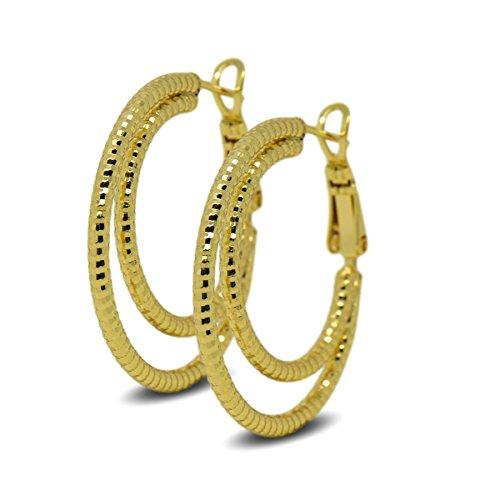 Blue Diamond Club - 9ct Gold Filled Womens Double Hoop Creole Earrings 9K 30mm