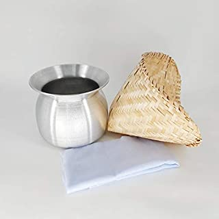 Sticky Rice Steamer Pot and Basket with Cotton Cheesecloth Cook Kitchen Cookware Tool