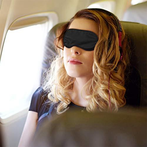 Schlafmaske 30Pcs Augenmaske Seiden Schlafmaske Augenbinde für Damen Herren, Tragbare Schlafbrille mit Gummibänder für Reisen Schichtarbeit(Schwarz)