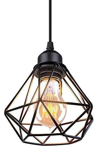 TOKIUS Lámparas de Techo Diseño de Jaula de Hierro Negro Ø 16cm Vintage Lámpara Colgante Iluminación de Techo de Interior para Pasillo Porche Cocina Dormitorio (Colgante 1 Luz)