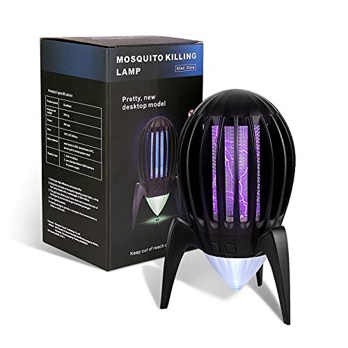 HOSPAOP Elektrischer Insektenvernichter, LED Fliegenfalle Insektenfalle Elektrisch Mückenlampe Moskitoschutz UV für Fliegender Insekten Innen Schlafzimmer, USB Wiederaufladbar