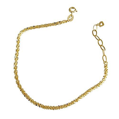 YEESEU Louleur Real Sterling 925 Plata Pulsera Elegante Brillante Brillante Pulseras Femeninas para Fiestas Fine Silver Jewelry Sister Gifts (Gem Color : Gold, Length : 18.5cm)