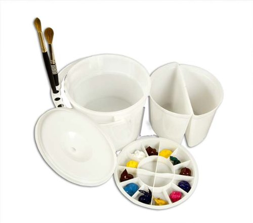 Creative Mark Dupre Water Bucket Basin with Palette and Lid - Dual Compartments & Slotted for Holding Brushes, Deep Well Paint Palette with 12 Perimeter and Four Interior Wells