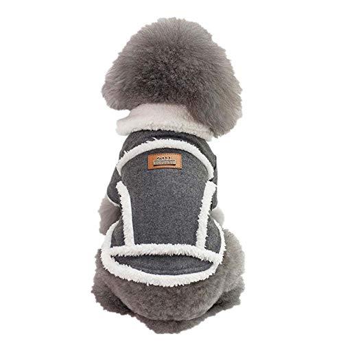 KSITH dierenkleding kleding voor honden, mantel met bontkraag herfst en winter, warm, dik, voor huisdieren (S-XXL), XL, Donkergrijs