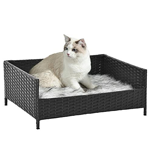 Pawhut Sofá Cama para Perros de Ratán Cama Elevada Rectangular para Mascotas Gatos con Cojín Suave y Lavable para Hogar Interior 61x46x24,5 cm Negro