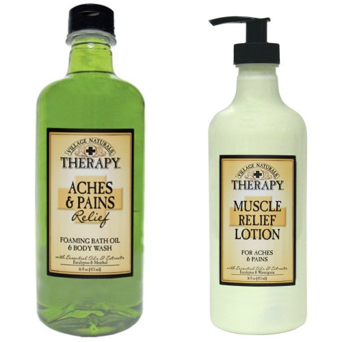 Village Naturals Muscle Aches & Pains Relief Lotion & Foaming Bath Oil Body Wash Relaxing Set