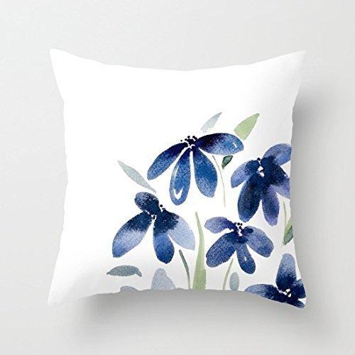 Fundas de cojín de Lona de Flores de Acuarela Azul