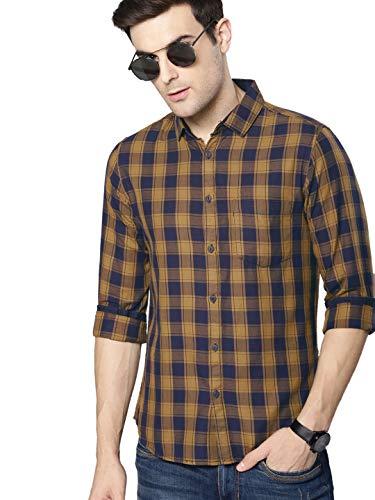 Dennis Lingo Men's Checkered Slim Fit Casual Shirt (C419_MUSTARD_M_Mustard_M)