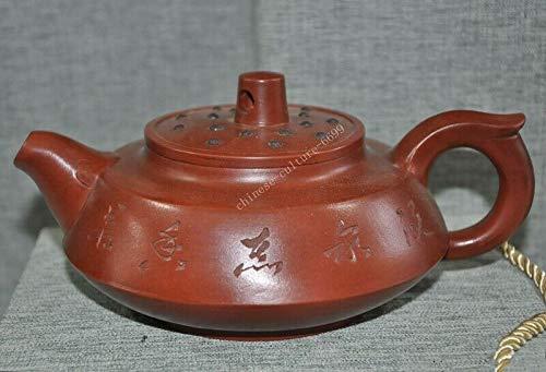 SIYAO Wedding Decoration 7″ Chinese Yixing Zisha Pottery Hand-Carved Calligraphy Text Teapot Pot Tea Maker