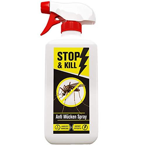 STOP & KILL Anti-muggenspray, 500 ml, zonder deet tegen alle soorten vliegen en muggen, geurneutraal en biologisch afbreekbaar, aangevuld muggennet en muggenstekker, vuilnisbak zonder vliegen