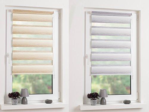 Garduna Flow Doppelrollo mit Farbverlauf # Klemmfix ohne Bohren - 90 x 150 cm Beige - Duo-Fenster-Rollo mit Klemmträger