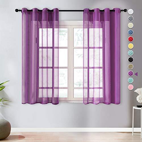 Topfinel Voile Vorhänge Leinenstruktur mit Ösen Durchsichtig Einfarbig für Fenster Wohnzimmer Schlafzimmer Moderne und Elegante Gardine 2er Set je 160x140cm (HxB) Lila