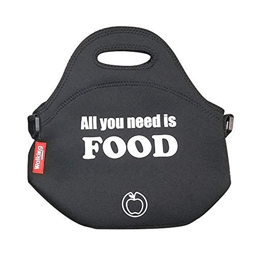 Bergner Bolsa Almuerzo Neopreno 30x30x17cm Negra All You Need is Food (Q3615)