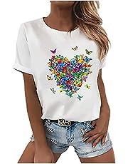 ChIcirly T-shirt voor dames, elegante zomerblouse met veerprint, korte mouwen, wit, casual basic shirt, modieus, ronde hals, tieners, meisjes, vrouwen, blouse, tuniek, sport, fitness