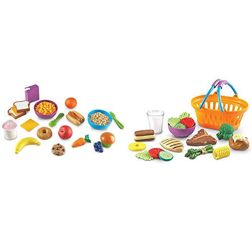 Learning Resources New Sprouts Munch It! Pretend Play Food, 20 Pieces, Ages 18 mos+ & New Sprouts Dinner Foods Basket, Pretend Play Food, 18 Pieces, Ages 18 mos+