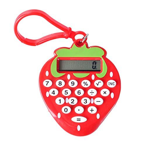 Aibecy Calculadora electrónica de 8 dígitos de dibujos animados fresa compacta Mini llavero portátil ligero Calculadora de mano para estudiantes Oficina en casa