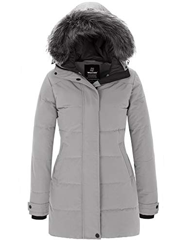 Wantdo Womens Winter Quilted Thicken Parka Coat Warm Puffer Coat Grey M