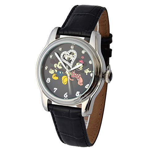 Acier Inoxydable Walt Disney Automatique 3ATM Mickey & Minnie Mouse Swarovski Pierres et Bracelet en Cuir