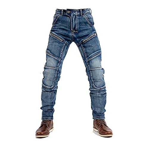 Pantalones vaqueros de moto para hombre, con 2 rodilleras, 2 protectores de cadera, con cinturón táctico de cuero, regalos para hombre