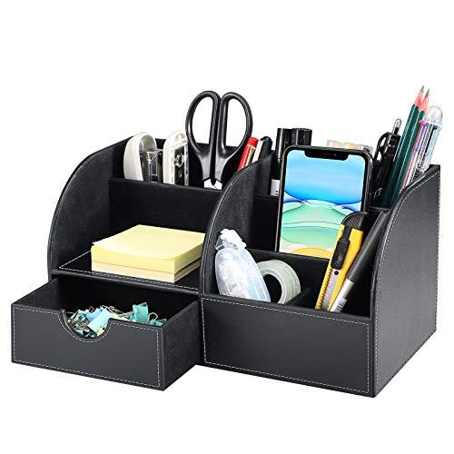 SITHON Organizador de Escritorio, Multifuncional Portalápices Caja de Almacenamiento in PU Cuero con Cajón para BolíGrafos, Tarjetas de Visita, Teléfono, para Hogar Oficina Escolares, Negro