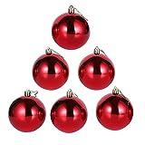 6 Piezas Inastillable Bolas De Navidad, Colgantes Adornos Del Árbol De Navidad, Rojo,...