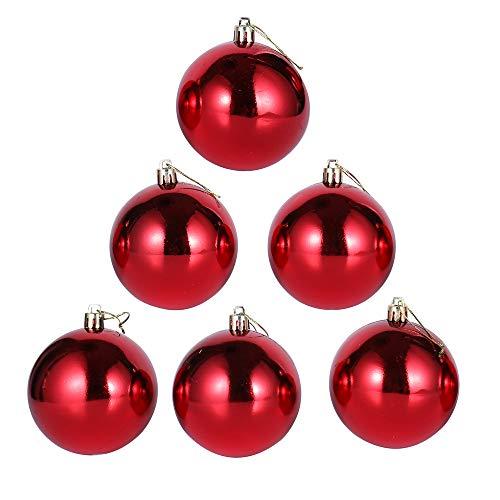 6 Pezzi Infrangibile Lusso Palline Di Natale, Ciondoli Decorazioni Natalizie, Brillante, Rosso, 10Cm(3.9')